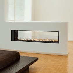GEMINI 60 C-THRU DV FIREPLACE 8940-0000N product shot seen in a half wall between two rooms