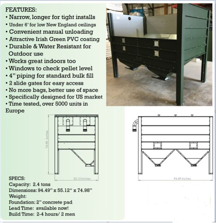 Photo of a 2.4 ton BioMass pellet bin dimensions, description and artist drawing of bins