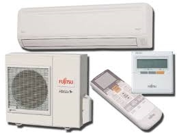 Product image of a Fujitsu General Ductless Mini-Split System with remote controls and indoor and outdoor unit