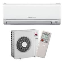 Product image of a indoor and outdoor condenser unit of a Mitsubishi Electric mini-split heat pump