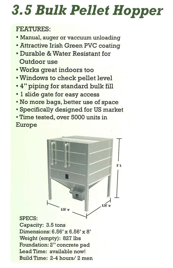 Want to ditch pellet bags and gain space? Go with a wood pellet storage bin. Bourne's Energy in Vermont.