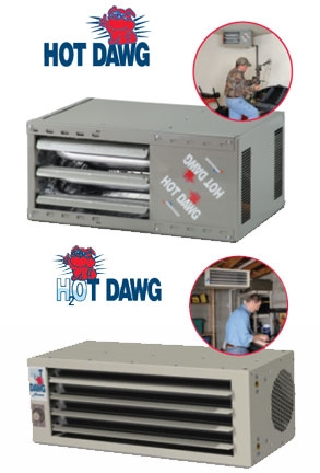 Product images of Modine's Hot Dawg gas-fired unit heater.